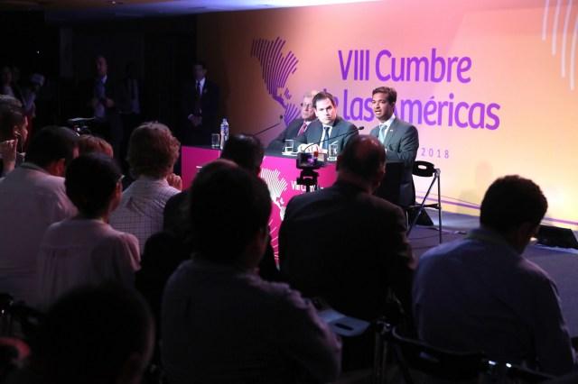 El senador estadounidense Marco Rubio ofrece una rueda de prensa hoy, sábado 14 de abril de 2018, durante la VIII Cumbre de las Américas, en Lima (Perú). EFE/Miguel Gutiérrez
