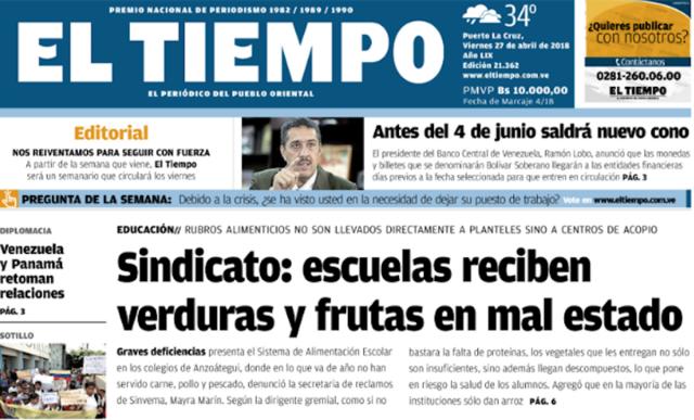 Diario El Tiempo de Puerto La Cruz