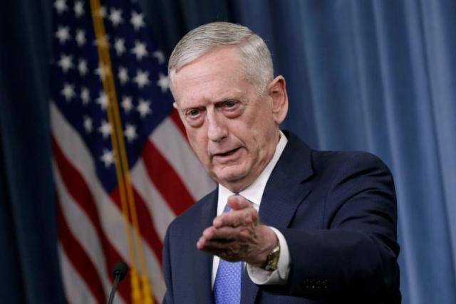 U.S. Defense Secretary James Mattis gestures during a press briefing on the campaign to defeat ISIS at the Pentagon in Washington, U.S., May 19, 2017. REUTERS/Yuri Gripas