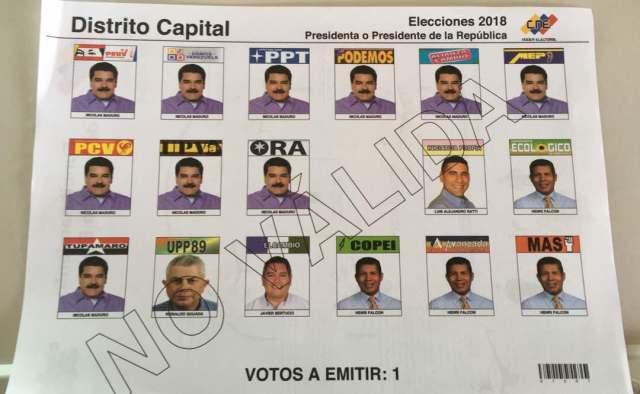 tarjetón para elecciones presidenciales