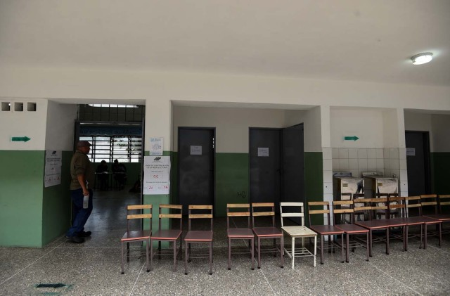 Venezuelan electoral officials waits for voters at an empty polling station during the presidential elections in Caracas on May 20, 2018 Venezuelans, reeling under a devastating economic crisis, began voting Sunday in an election boycotted by the opposition and condemned by much of the international community but expected to hand deeply unpopular President Nicolas Maduro a new mandate / AFP PHOTO / Juan BARRETO