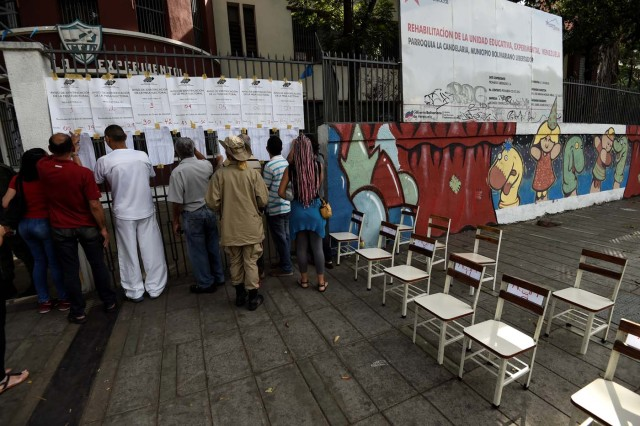 Venezuelans look for their names at a polling station before casting their vote during presidential elections in Caracas on May 20 Venezuelans, reeling under a devastating economic crisis, began voting Sunday in an election boycotted by the opposition and condemned by much of the international community but expected to hand deeply unpopular President Nicolas Maduro a new mandate / AFP PHOTO / Juan BARRETO