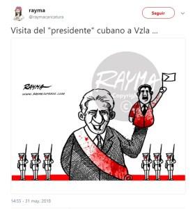 La caricatura de Rayma sobre la visita de Díaz-Canel a Venezuela