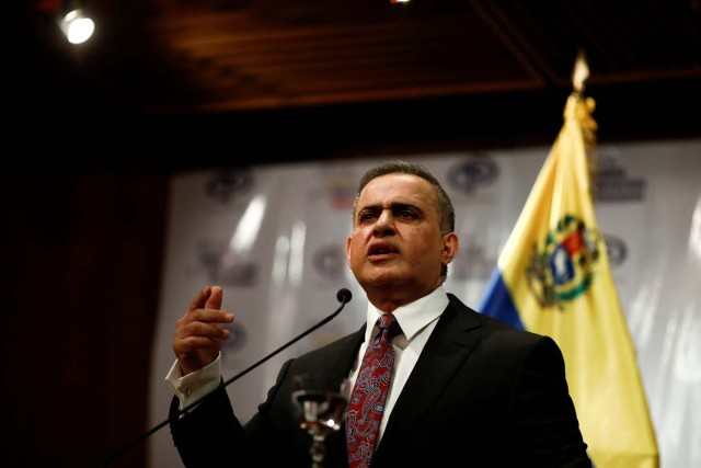 Venezuela's Chief Prosecutor Tarek William Saab talks to the media during a news conference in Caracas, Venezuela, May 3, 2018. REUTERS/Marco Bello