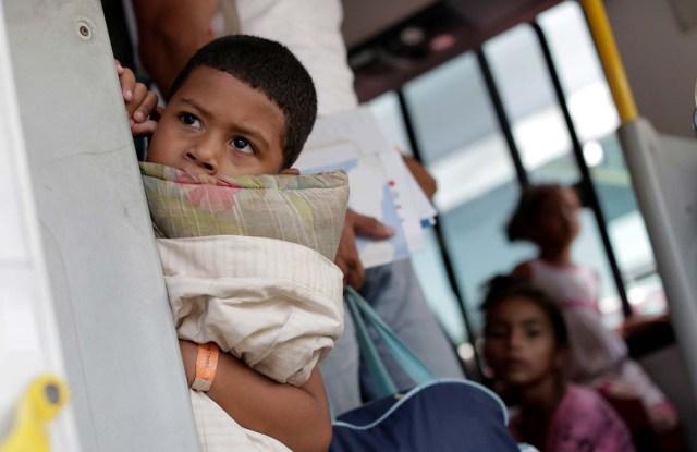 A Venezuelan refugee boy arrives at UNHCR shelter in Manaus, Brazil May 4, 2018. REUTERS/Bruno Kelly