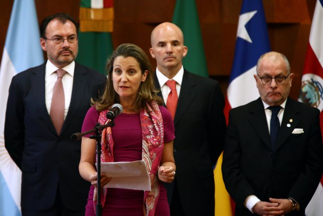 Canadian Foreign Minister Chrystia Freeland addresses the media during a meeting of the Lima Group, formed last year to put pressure on Venezuela and whose member countries are monitoring the upcoming Venezuelan presidential elections, in Mexico City, Mexico May 14, 2018. REUTERS/Edgard Garrido