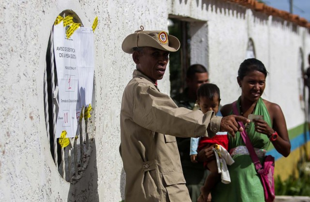 A militia member directs voters at a polling station during the presidential election in Puerto Ordaz, Venezuela, May 20, 2018. REUTERS/William R. Urdaneta