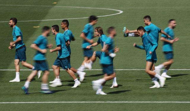 Soccer Football - Champions League - Real Madrid Training - Real Madrid City, Madrid, Spain - May 22, 2018   Real Madrid players during training   REUTERS/Sergio Perez