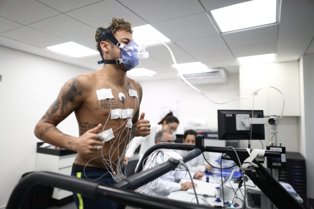Brazil's soccer player Neymar attends physical tests session at the Brazilian Soccer Confederation training center in Teresopolis, Brazil May 22, 2018. Picture taken May 22, 2018. Lucas Figueiredo/Brazilian Soccer Confederation (CBF)/Handout via REUTERS ATTENTION EDITORS - THIS IMAGE WAS PROVIDED BY A THIRD PARTY. NO SALES. NO ARCHIVES