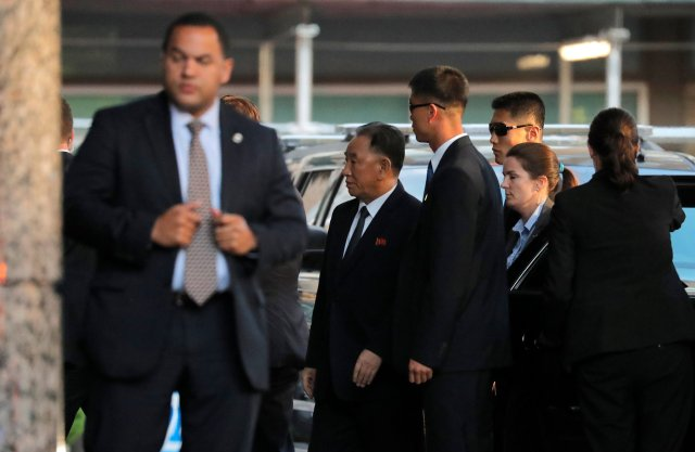 North Korean envoy Kim Yong Choi (C), arrives for a meeting with U.S. Secretary of State Mike Pompeo in New York, U.S., May 30, 2018.  REUTERS/Lucas Jackson