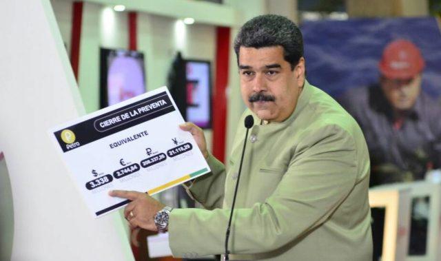 El 26 de abril de 2018. Nicolás Maduro anunció heber obtenido 3.338 millones de dólares por la preventa del petro / Foto AVN