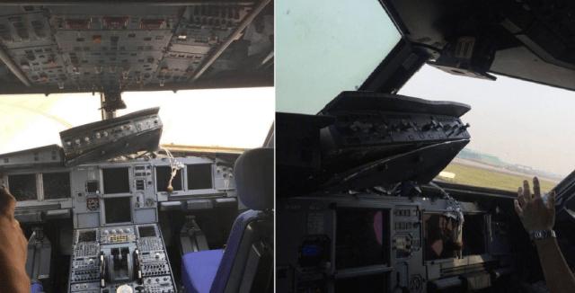 El avión quedó destrozado luego del estallido de su parabrisas (Foto extraída de El Clarín)