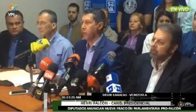 Henri Falcón junto  a los diputados Timoteo Zambrano, Julio César Reyes y Teodoro Campos // Foto captura tv