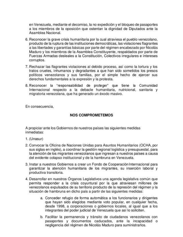 Declaración conjunta de los Congresos de América Latina y el Caribe por Venezuela / @SenadoGovCo - twitter