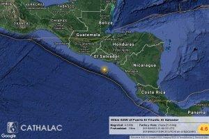 Un sismo de magnitud 4,3 sacude Pacífico salvadoreño