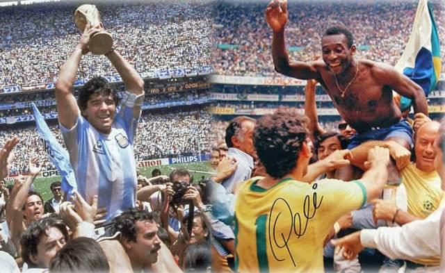 Diego Maradona y Pelé tras ganar la Copa del Mundo con sus respectivas selecciones | Foto: Cortesía Diez