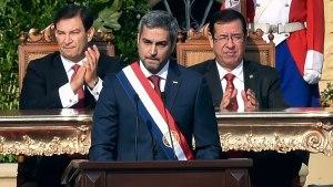 Mario Abdo Benítez critica a Venezuela y Nicaragua, al asumir presidencia de Paraguay