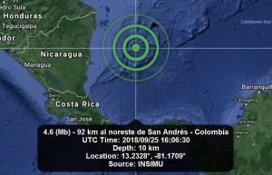 Sismo de magnitud 4,1 sacude el archipiélago colombiano de San Andrés