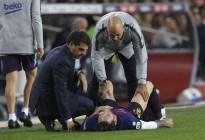Messi lesionado en un brazo a una semana del clásico liguero