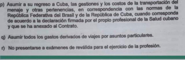 Parte del contrato entre profesionales médicos cubanos y la empresa estatal.