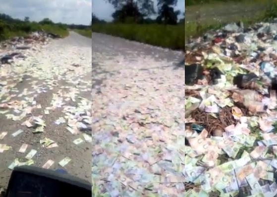 Una alfombra de billetes descubren bolsas negras con - Alfombra carretera ...