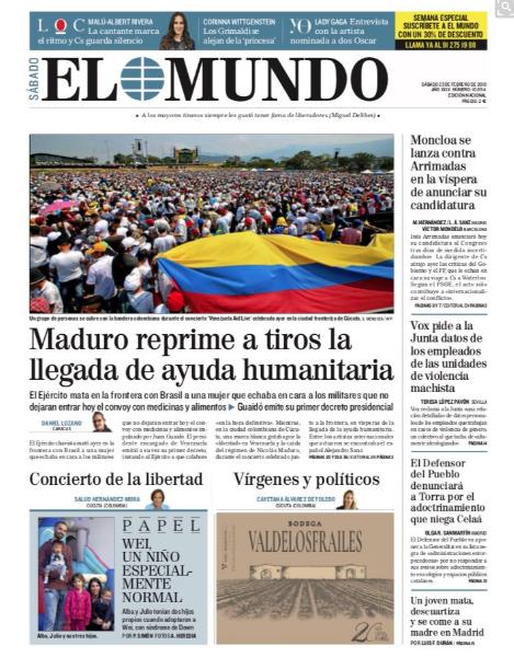La represión de Maduro ante la ayuda humanitaria ocupa primeras planas de la prensa internacional (Fotos)