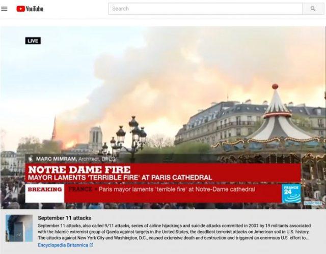 YouTube asocia por error a Notre Dame en llamas al atentado del 11 de septiembre en Nueva York