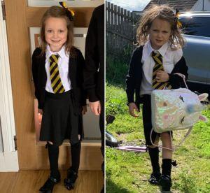 LA FOTO del antes y el después de una niña en su primer día de clases que se volvió viral
