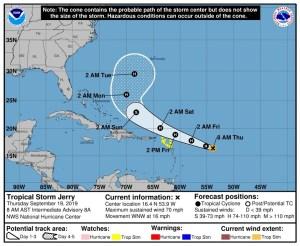 El huracán Jerry se dirige hacia las islas del Caribe