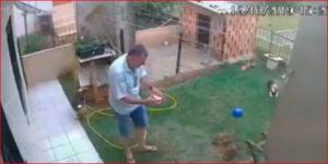 ¡Lo pillaron! Revisó las cámaras de seguridad y descubrió el secreto que su esposo le escondía (VIDEO)
