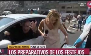 """""""Me acaban de atropellar"""", el increíble accidente que sufrió una periodista mientras cubría la asunción de Alberto Fernández"""