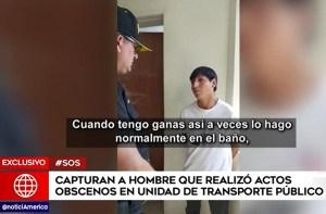 Le pusieron los ganchos a depravado que se tocaba frenéticamente en un autobús de Perú