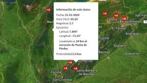 Sismo de 3.7 en Punta de Piedra, estado Barinas
