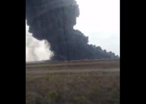 En VIDEO: El devastador incendio en el campamento de Pdvsa en Morichal, Monagas