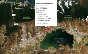 Sismo de magnitud 3,1 se registró en Valencia