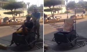 Indignante: Pacientes en Maracaibo deben trasladarse en sillas de ruedas improvisadas (VIDEO)