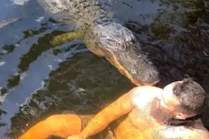 """¡Vaya susto! Dijo que un cocodrilo era """"su amigo"""" pero terminó mordido en el hombro (VIDEO)"""