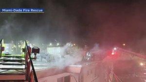Evacuaron a decenas de personas tras incendio de un apartamento en North Miami Beach (Video)
