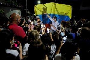 """Guaidó se unió al grito de """"Patria y Vida"""" en evento para pedir libertad de Cuba, Venezuela y Nicaragua"""