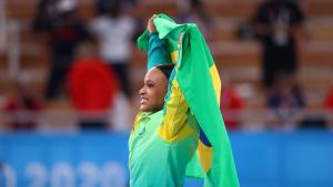 La brasileña Rebeca Andrade se colgó el oro en la final de salto de caballo en Tokio 2020